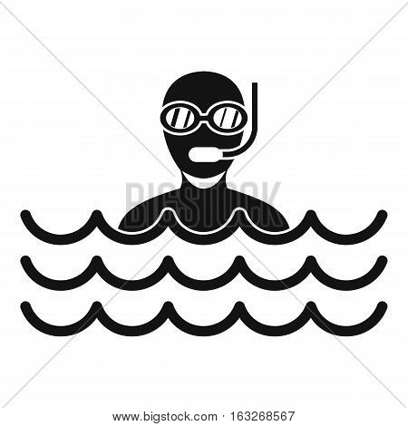 Man with scuba icon. Simple illustration of man with scuba vector icon for web