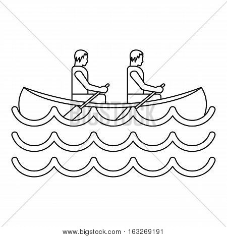 Canoe kayak with two persons icon. Outline illustration of canoe kayak with two persons vector icon for web