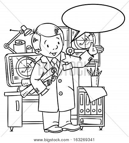 Coloring picture of funny engineer or inventor. A man in coat with drawings showing by hand. Profession series. Childrens vector illustration. With balloon for text