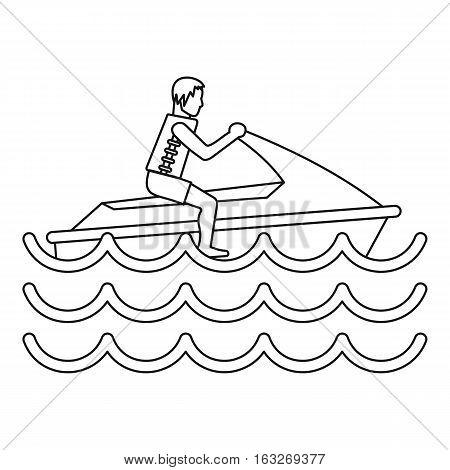 Man on jet ski icon. Outline illustration of man on jet ski vector icon for web