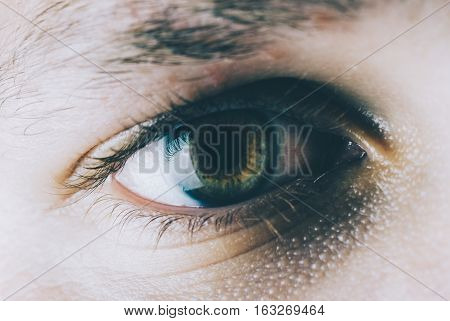 Close-up photo of the eye of young man