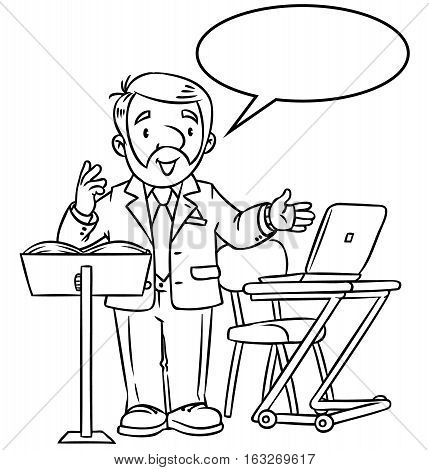 Coloring book of funny univercity lector. A man with a beard is giving a lecture or lesson, or tells something near the stand and table with notebook. Profession series. Childrens vector illustration.