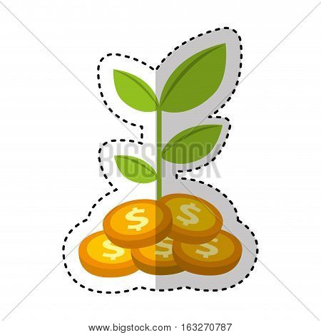 coins plant isolated icon vector illustration design