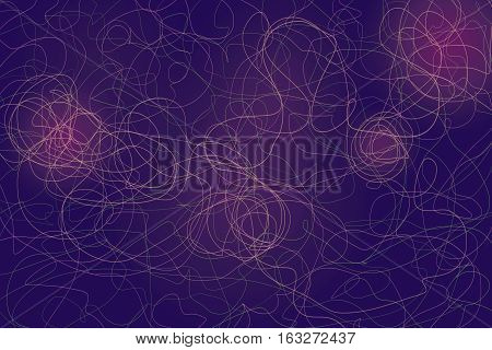 Multicolor abstract lines and shapes designs on dark purple ackground