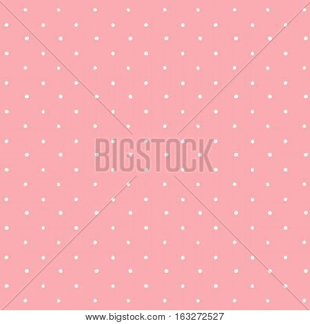 Vector beautiful polka dot pattern. Pink background with spots.