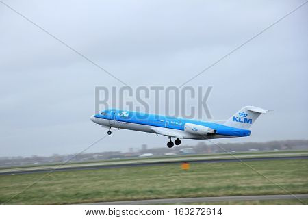 Amsterdam the Netherlands - March 27th 2015: PH-WXD KLM Cityhopper Fokker F70 Polderbaan Runway