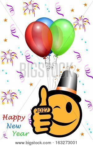 New Year´s smiley with thumb up and year 2017, party background
