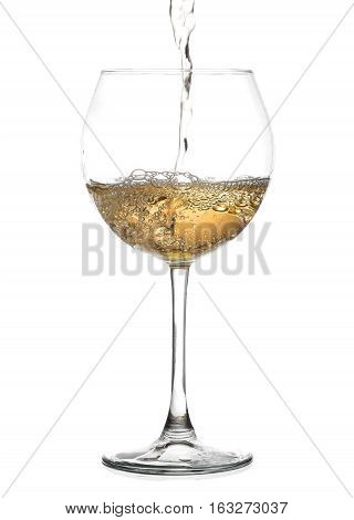 White Wine Pouring From The Bottle Intro The Glass On White Background