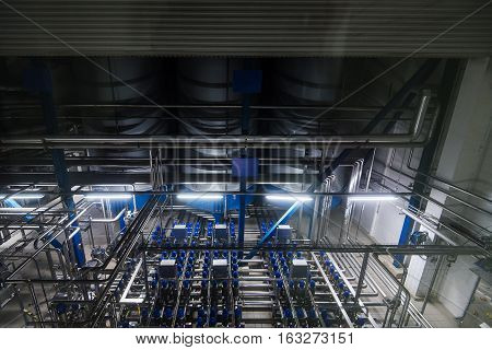 Big indusrtial filter system at modern brewery plant