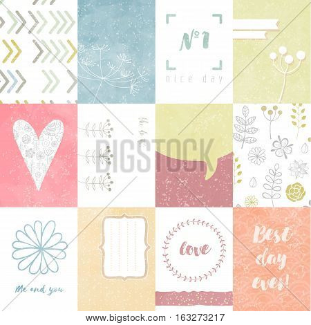 Vector set of journaling cards for scrapbook and design, with floral pattern, doodle, heart, stripes and tags.