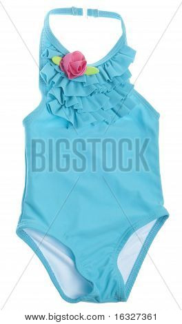 Blue Summer Bathing Suit With Pink Rose