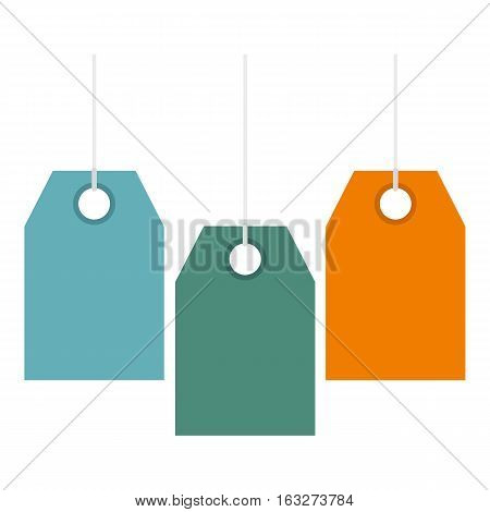 Color price tags icon. Flat illustration of color price tags vector icon for web