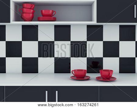 Modern kitchen white and black design. 3d render