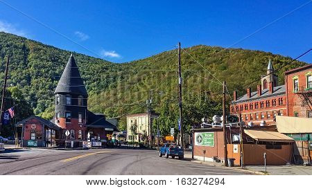 JIM THORPE PENNSYLVANIA - SEPTEMBER 28: Route 209 passes through this scenic landscape with historic buildings on September 28 2016 in Jim Thorpe Pennsylvania.