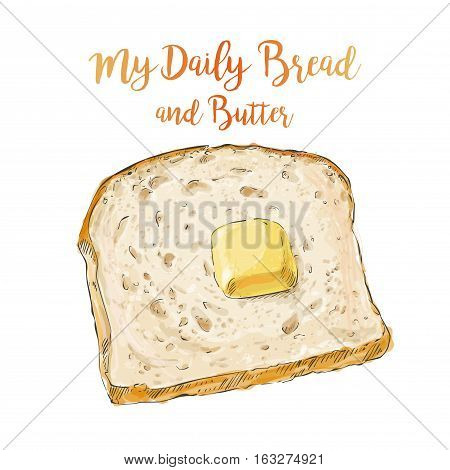 whole grain Sliced bread with a pat of butter isolated on white background top view vector illustration isolated
