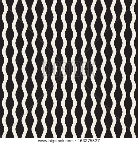 Wavy Ripple Lines. Abstract Geometric Background Design. Vector Seamless Black and White Pattern.