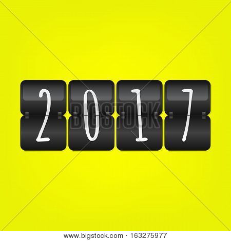 Happy New Year 2017 Scoreboard. Yellow black and white vector flip symbol