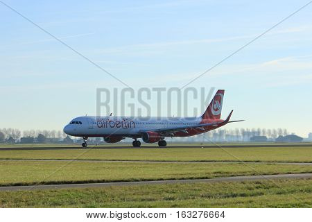 Amsterdam the Netherlands - November 25th 2016: D-ABCP Air Berlin Airbus A321 taking off from Polderbaan Runway at Amsterdam Airport Schiphol