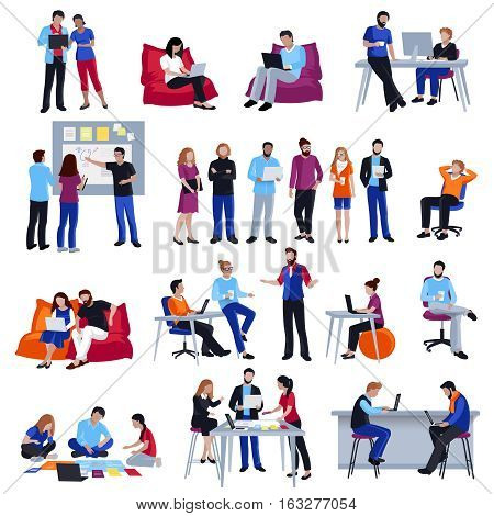 Coworking people colored isolated icons set with creative freelancers meeting together in coworking center sharing ideas  and discussing problem flat vector illustration