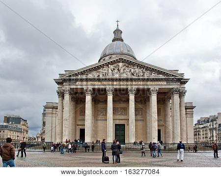 Paris France - November 4 2012: The Pantheon is a neoclassical building in the Latin Quarter in Paris. It was originally built as a church but actually is a secular mausoleum containing the remains of distinguished French citizens. It is the first neoclas