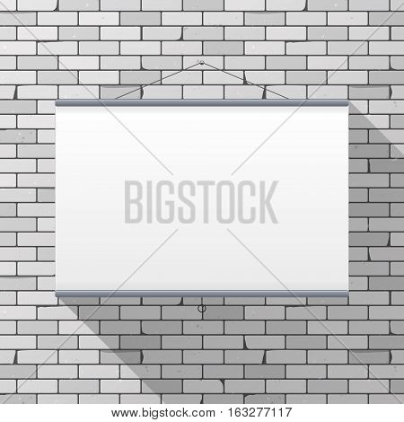 Vector mockup. Projector Screen hanging on a gray brick wall. Empty blank. Grunge brickwork background textured rough surface. Creative business interior template. Whiteboard for presentations