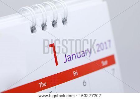 Desktop Calendar Of 1 January 2017, Day Of Happy New Year
