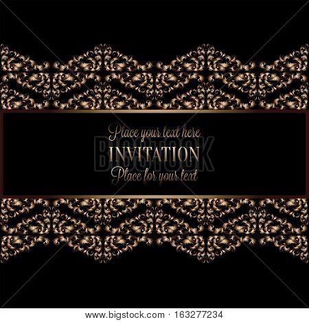 Vintage Gold Invitation Or Wedding Card On Black Background, Divider, Header, Ornamental Lacy Vector