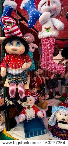 Stuffed dolls dolls on display at the festivals of bulls