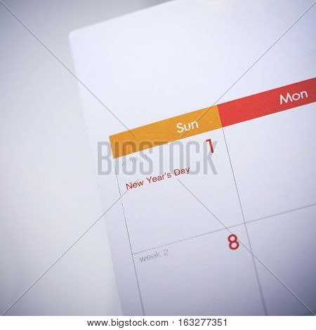 Desktop Calendar Blank Schedule Of 1 January 2017, Day Of Happy New Year's Day