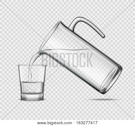 Pouring water in glass from jug design concept on transparent background grey realistic vector illustration