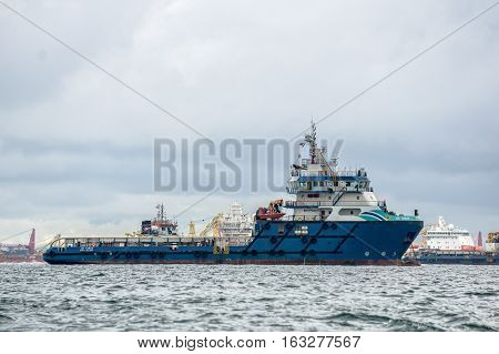 Labuan,Malaysia-Dec 22,2016:Offshore oil & gas sea construction & support vessel at Labuan,Malaysia.All the vessels port in Labuan island,most related to the offshore Oil & Gas industry.