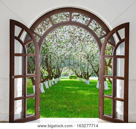 Open Door Arch Garden Bloom In Spring