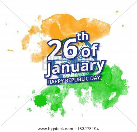 Happy Indian Republic Day celebration on flag water color greeting card