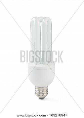 Energy saving fluorescent light bulb on white background