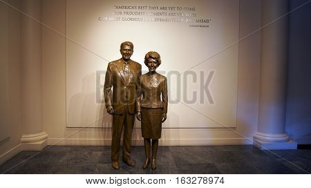 SIMI VALLEY, CALIFORNIA, UNITED STATES - OCT 9, 2014: Statues of Ronald and Nancy Reaga at the Presidential Library and Museum.