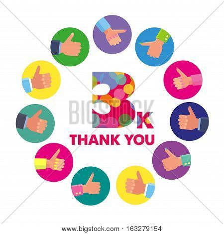 Vector template 3K Thanks subscribers greetings colorful figures Like