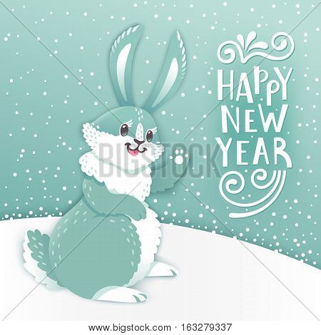 Card Happy New Year with cartoon rabbit. Funny bunny. Cute hare, snow and greeting text. Vector illustration grouped and layered for easy editing