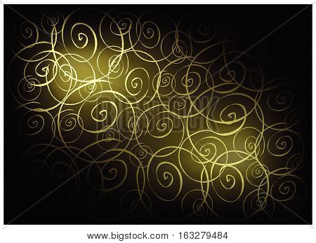Illustration of Beautiful Green Vintage Texture Background with Spiral Pattern for Add Content or Picture.