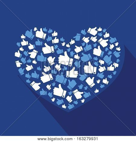 Vector stylized heart of the likes hand comunication