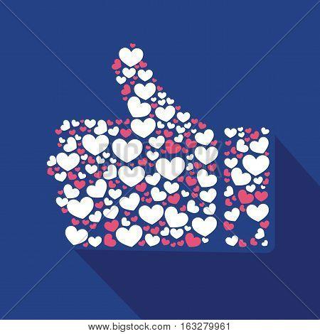 Vector stylized Like hearts hand love comunication