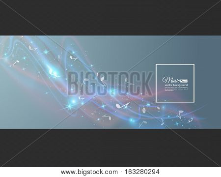 Abstract musical background - notes. Transparent color waves. Background of glowing light effect. Space for your message. Eps 10 vector illustration.
