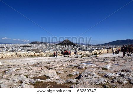 The view of Lycabettus Hill from Acropolis, Athens, Greece