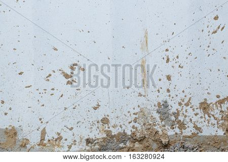 White Wall Cement Dirty With Muddy Splashing