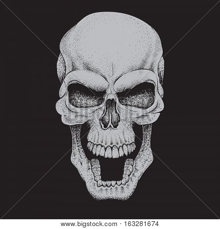 Angry skull.Dotwork.Isolated on black background. Vector illustration