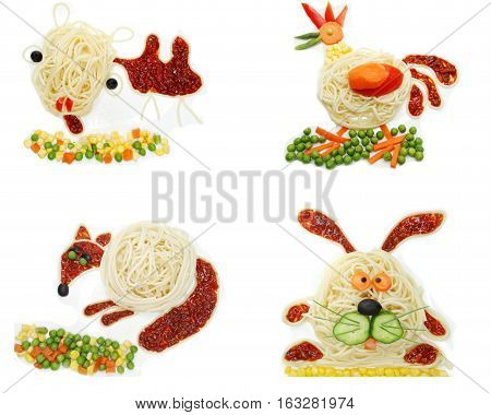 creative vegetable food meal with spaghetti camel form