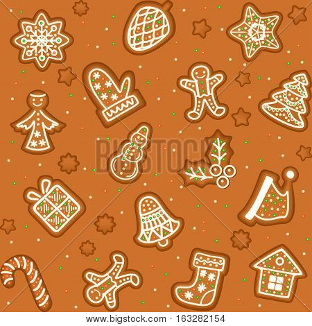 Seamless pattern with Gingerbread Christmas cookies decorated icing. Holiday cookie in shape of Christmas Xmas tree star bell sock gingerbread men snowflake and gift. Vector illustration