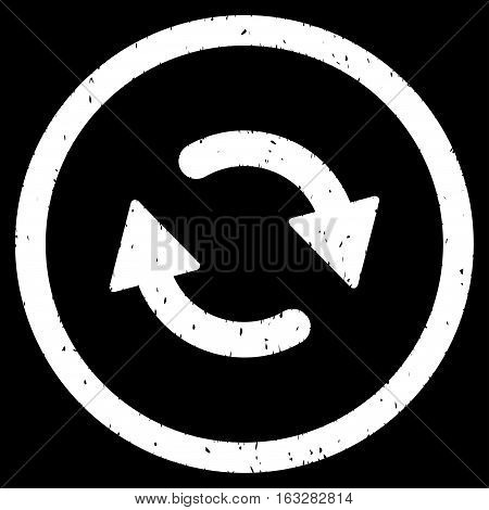 Refresh Arrows rubber seal stamp watermark. Icon vector symbol with grunge design and dust texture. Scratched white ink sticker on a black background.