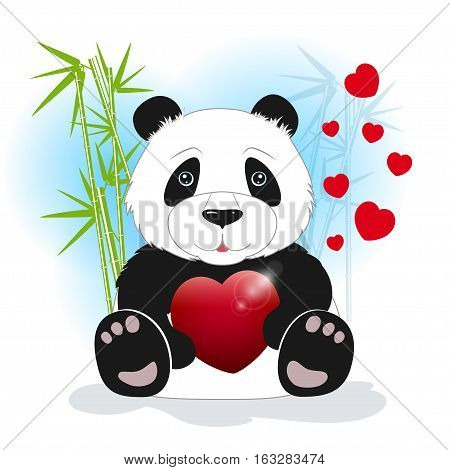 Panda sits among the bamboo and keeps the heart on a white background, behind bamboo stalks with hearts