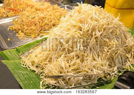 Close up of bean Sprouts ready to eat on banana leaf in the market