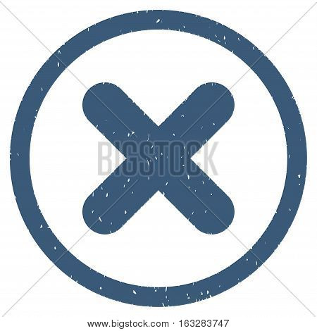 Cancel rubber seal stamp watermark. Icon vector symbol with grunge design and dirty texture. Scratched blue ink emblem on a white background.